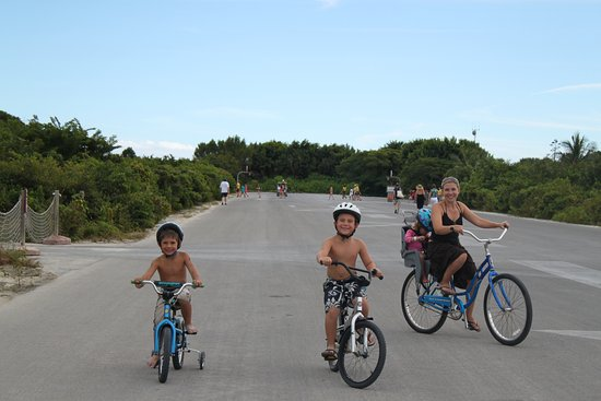 Castaway Cay : For a nominal fee you can rent bikes. They even have training wheels and kids seats