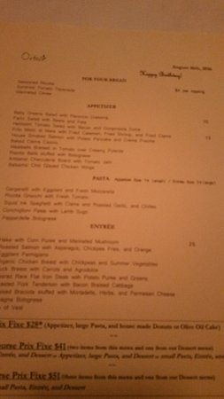 "Miller Place, NY: my personal menu with my wife in the ""love shack"" table."
