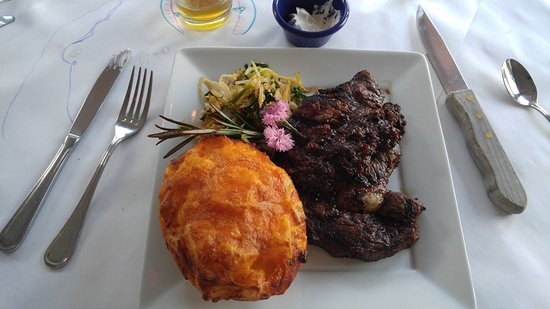 Baileys Harbor, WI: Rib Eye Steak with AuGratins