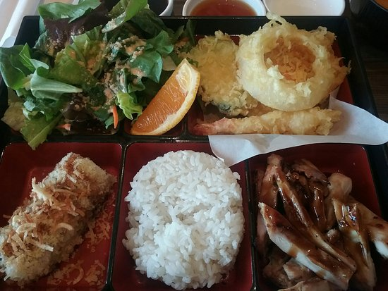 "Seal Beach, CA: Chicken ""Bento Box"" with Crunchy Calif Roll"