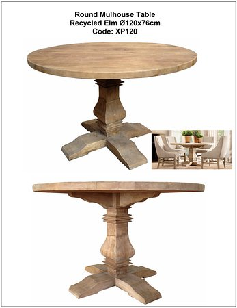 McLaren Vale, Australie : Pedestal round dining table in recycled elm