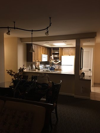 Hololani Resort: B201, 2bd, 2bth, view from lanai and pool at night. Stayed Aug 13-19 2016