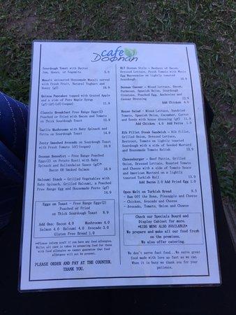 Doonan, Australia: Back of menu