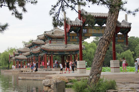 Chengde, China: The gate along with the beautiful lotus ponds