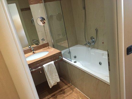 Grassobbio, Włochy: Top Hotel malgré pas mal de cheveux noir dans la baignoire sur le bureau qui n était pas à nous