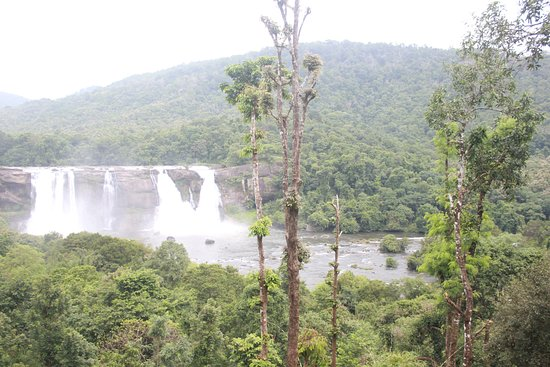 The viewof Athirapally falls from the Rain Forest Resort while having our lunch