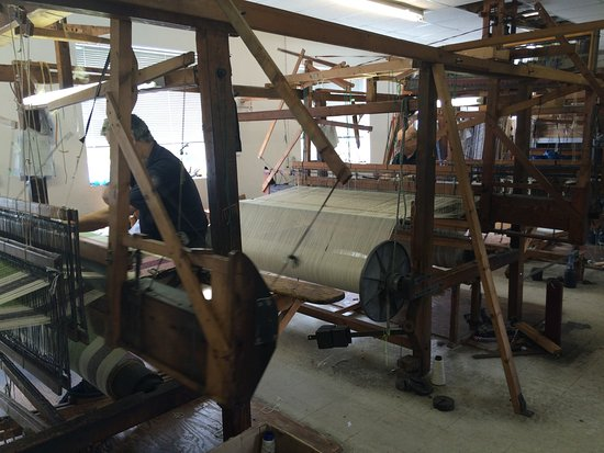 Studio Donegal: The cloths being woven by the weavers in the workshop.