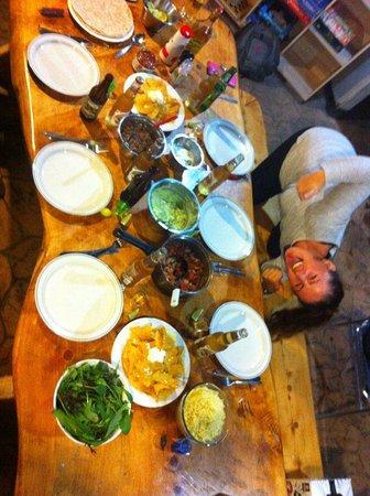 Kerikeri, New Zealand: Linda modelling the dinner we made for Max