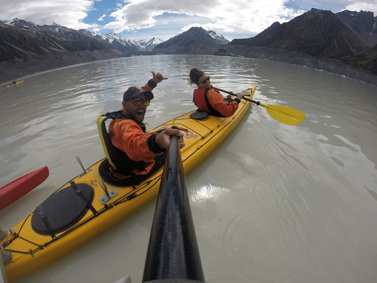 Mt. Cook Village, New Zealand: kayaking amongst icebergs on the amazing Tasman Glacier Lake