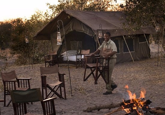 andBeyond Chobe Under Canvas: The Camp fire ready for the guests evenings preparation
