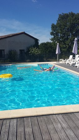 Riberac, France: The poo, with our gite in the background.
