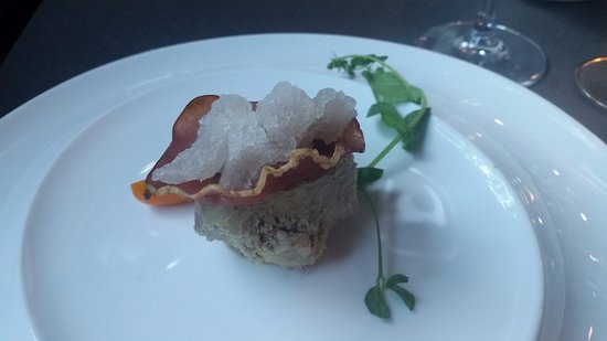 Nivelles, بلجيكا: Excellent Duck kiter bonbon with touted ham filled with onion serbet