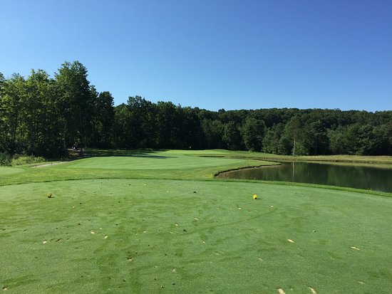 Bellaire, MI: #1 opens from elevated tee box winding around a lake