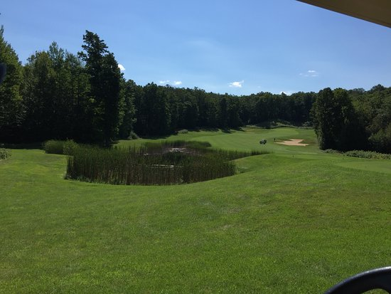 Bellaire, MI: Scenic hole with hazards, bunkers and elevation changes