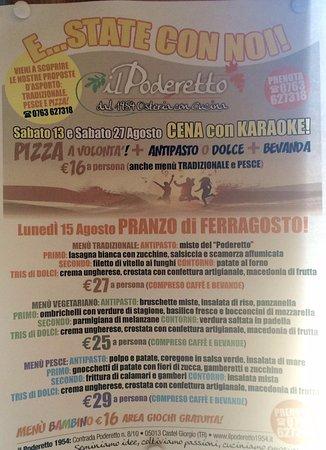 Castel Giorgio, Italia: Menù di ferragosto