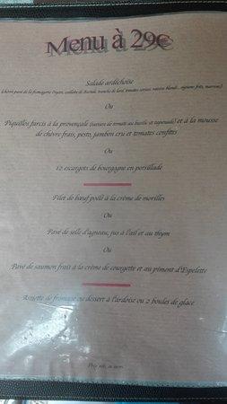 Saint-Paul-le-Jeune, France: menu à 29 euro