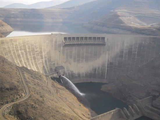 Katse Dam: view from top across valley