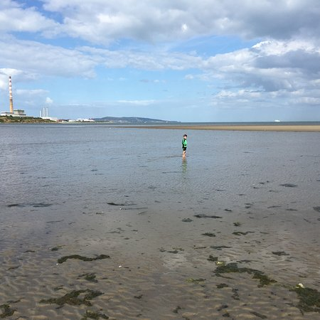 Sandymount Strand: Shallow waters were great for play.