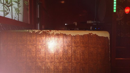 Extremely deteriorated booth upholstery (not just mime but ALL) at Ichiban Steakhouse, Canton, M