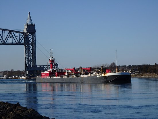 Buzzards Bay, MA: Ponderous barges are regular users of the Cape Cod Canal