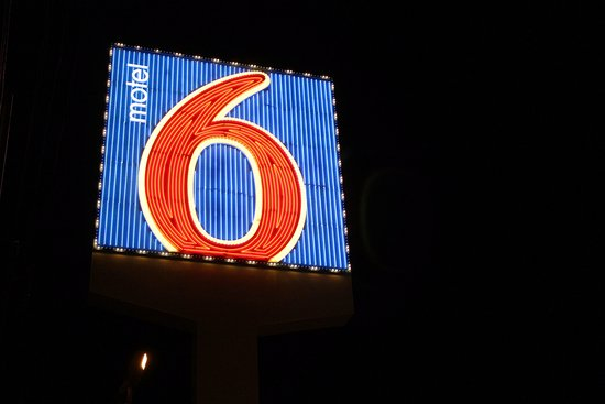 Motel 6 Las Vegas - Tropicana: the neon advertizing sign outside motel