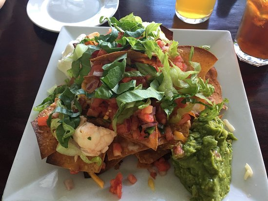 Babylon, NY: Lobster nachos, appetizer menu, view of dock