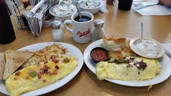 Jasper, AR: Denver omelet on the left, southwest omelet on the right