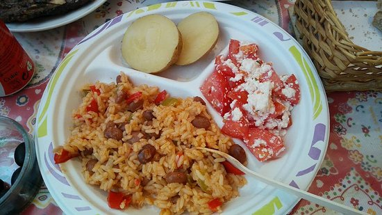 Belmonte, Portugalia: rice, potatoes, and cheese with tomatoes