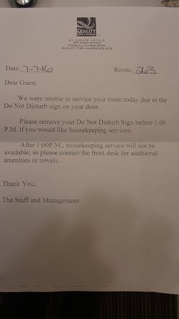 One of the letters received under door  - Picture of Quality
