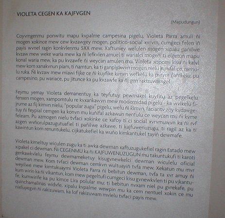 Santiago, Chile: Violeta's potted bio in…Mapudungun.