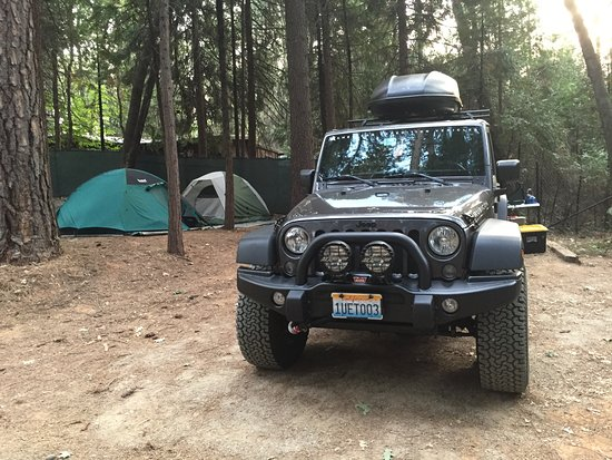 Nevada City, Калифорния: Tent site with ample room for Jeep and three tents, picnic table included!