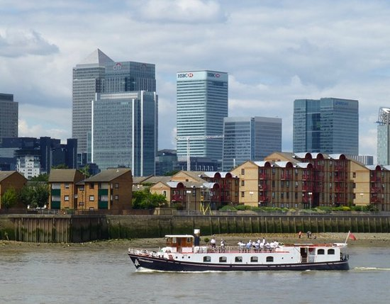 Gravesend, UK : View looking towards Canary Wharf