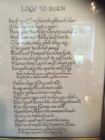 Peak District National Park, UK: Framed poem next to the fire in the drawing room