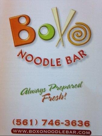 Boxo Noodle Bar: MENU