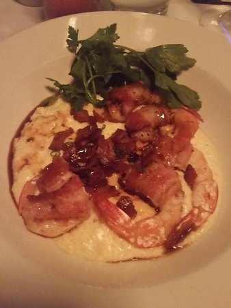 Mr. B's Bistro: Shrimp covered with bacon over grits