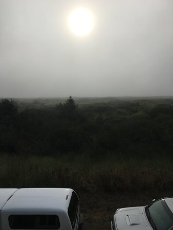 """Ocean Shores, WA: View from the """"balcony"""" with the ocean hidden due to the marine layer."""