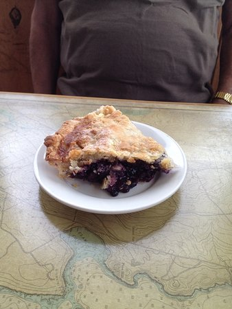 Wiscasset, ME: Wild Maine blueberry pie in the flakiest crust ever!