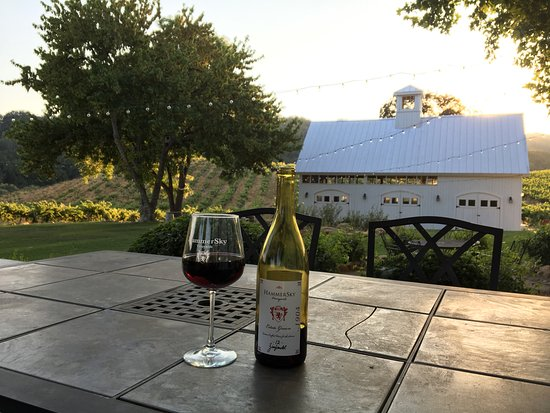HammerSky Vineyards: View of the barn from the table (close to the hot tub)