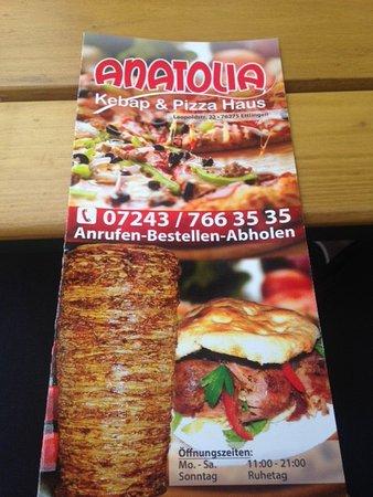 Ettlingen, Germany: Flyer zum Anatolia Kebab & Pizza Haus