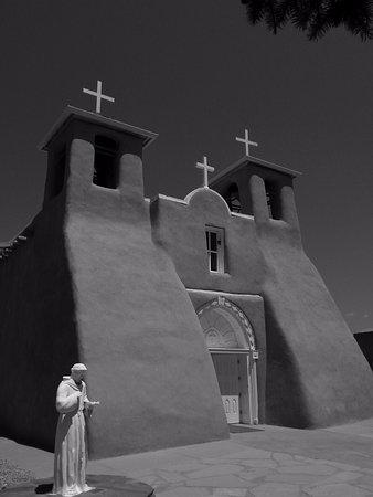 Front of San Francisco de Assisi Mission Church in Ranchos de Taos, NM
