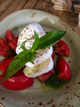Santa Ynez, CA: Beautiful and delicious mozzarella and tomato salad!