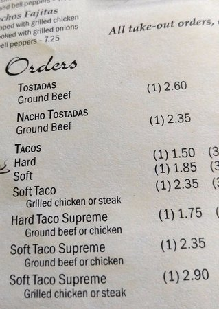 Reidsville, Carolina del Norte: See menu for what we ordered. Soft taco Supreme w/ground beef. Had last wk. so knew order was wr