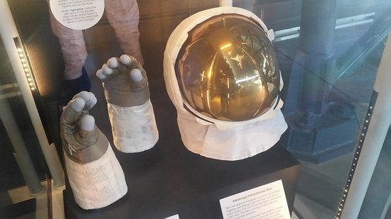 Chantilly, VA: Neil Armstrong's space helmet and gloves from the lunar landing.