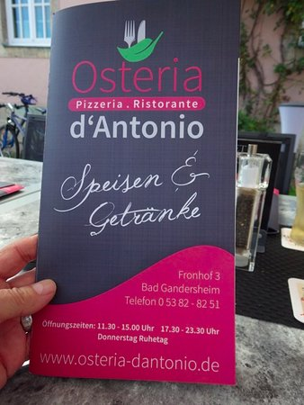 Bad Gandersheim, Germania: Menu, Osteria D'Antonio Gandersheim
