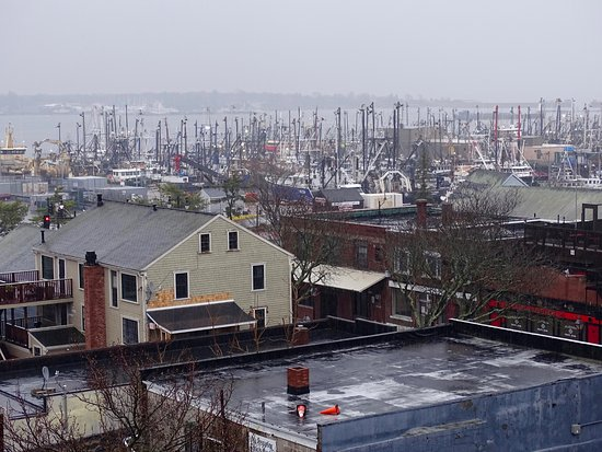 New Bedford, MA: View of the harbor from the observation deck