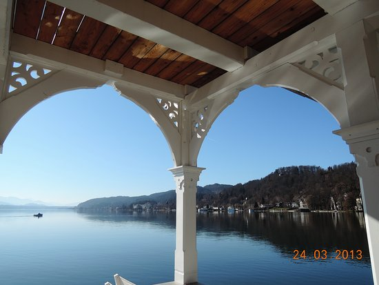 Portschach am Worther See, Austria: The view from the fron of the restaurant room .(the date is wrong)