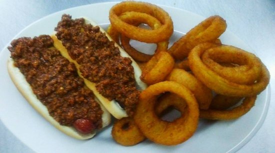 Rossford, OH : Chilli dogs with onion rings