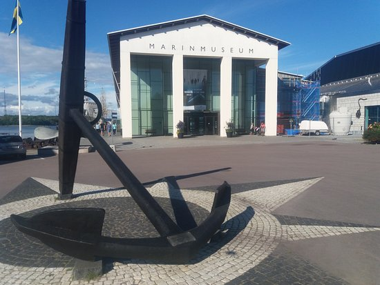Marine Museum Karlskrona: Front of the Marine Museum The upper part of the anchor indicates North,