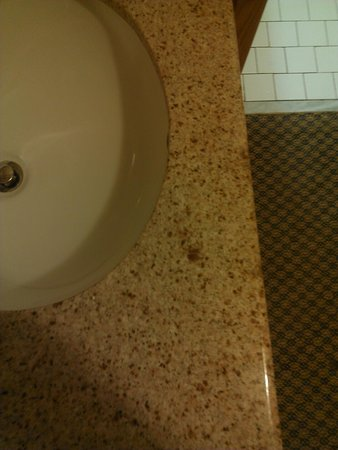 Rock Falls, IL: The larger brown spot on the sink is NOT granite, rather what looks like dried feces! EEEWWWWWW!