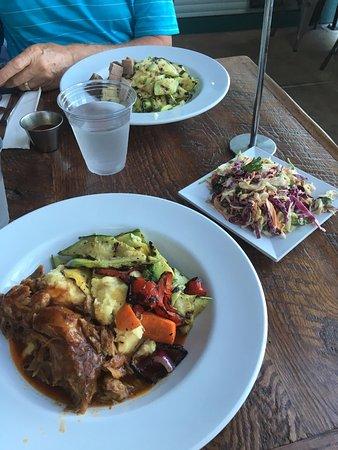 "Bushfire Grill: BBQ pork, mashed potatoes & grilled veggies, ""kaleslaw"", tri-tip w/ basmati rice & grilled veggi"